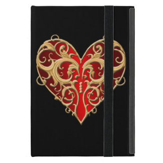 Red Filigree Heart iPad Mini Case