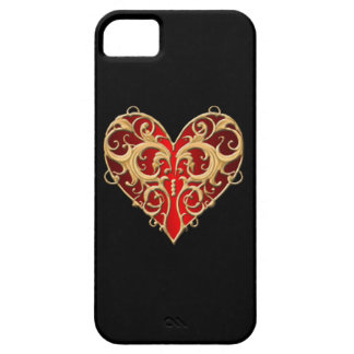 Red Filigree Heart iPhone 5 Case