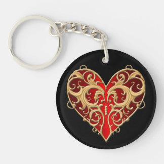 Red Filigree Heart Key Chain