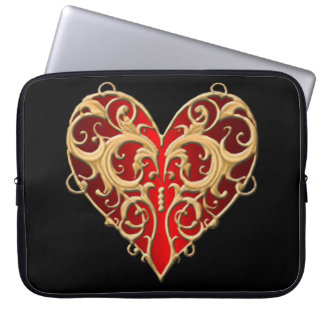 Red Filigree Heart Laptop Sleeve