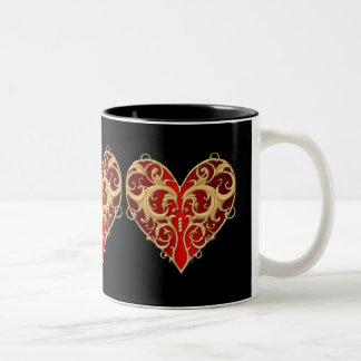Red Filigree Heart Mug