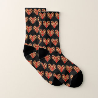 Red Filigree Heart Socks