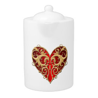Red Filigree Heart Teapot