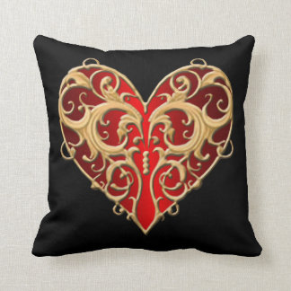 Red Filigree Heart Throw Pillow
