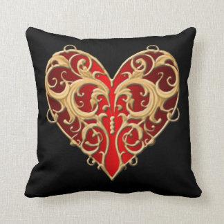 Red Filigree Heart Throw Pillow