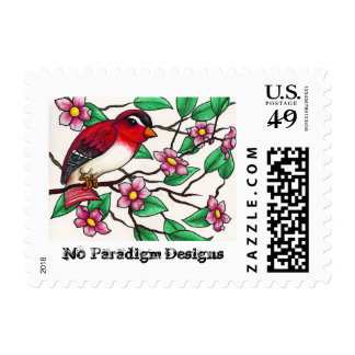 Red Finch and Blossoms Stamp