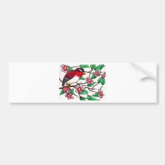Red Finch on a branch with blossoms Bumper Sticker