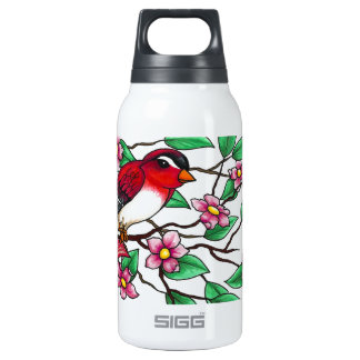 Red Finch on a branch with blossoms Insulated Water Bottle