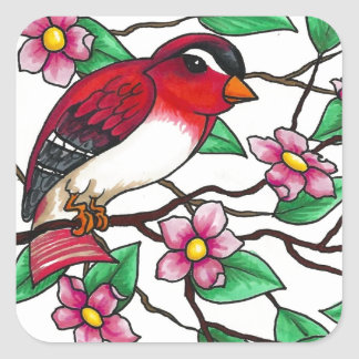 Red Finch on a branch with blossoms Square Sticker