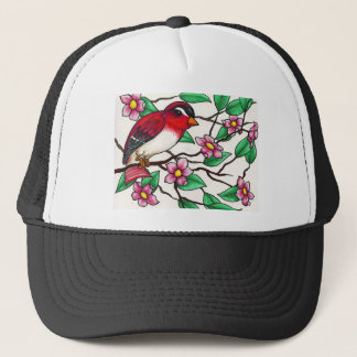 Red Finch on a branch with blossoms Trucker Hat