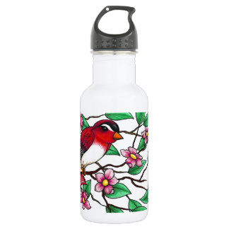 Red Finch on a branch with blossoms Water Bottle