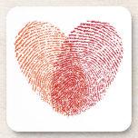 Red fingerprint heart design beverage coasters