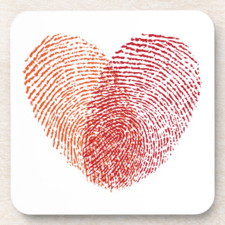 Red fingerprint heart design drink coaster