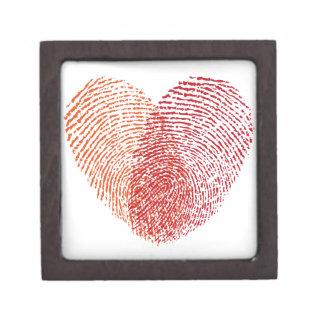 Red fingerprint heart design premium trinket box