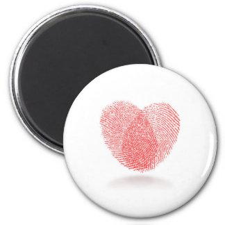 red fingerprint heart shape magnet