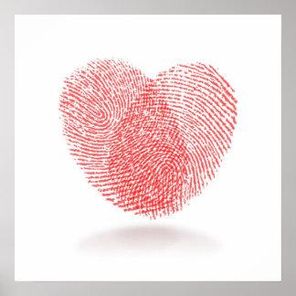 red fingerprint heart shape on white background poster