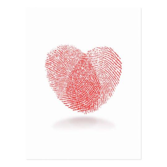 red fingerprint heart shape postcard
