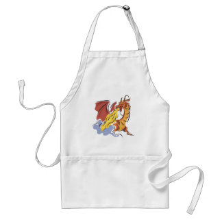 red fire-breathing dragon apron
