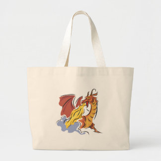 red fire-breathing dragon canvas bag