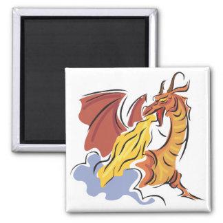red fire-breathing dragon fridge magnets