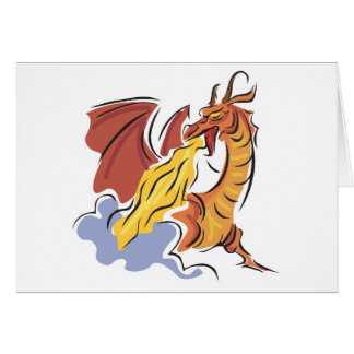 red fire-breathing dragon greeting cards