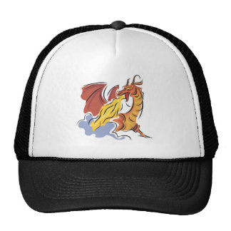 red fire-breathing dragon mesh hats