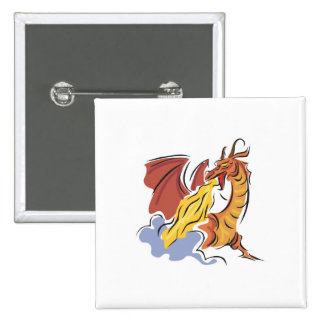 red fire-breathing dragon pinback button