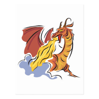 red fire-breathing dragon post card