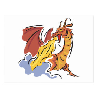 red fire-breathing dragon post cards