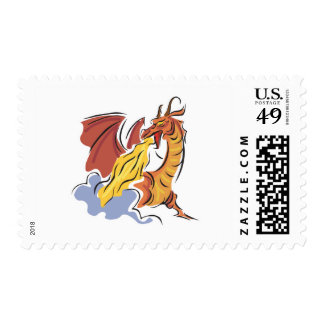 red fire-breathing dragon postage stamp