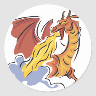 red fire-breathing dragon round stickers