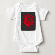 Red Fire Chicken Year Baby Bodysuit
