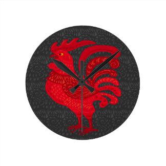 Red Fire Chicken Year Round Clock