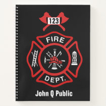 Red Fire Department Badge Notebook