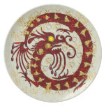 Red Fire Dragon Melamine Plate