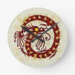 Red Fire Dragon Round Clock