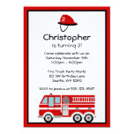 """Red Fire Engine and Hat Birthday Party Invitations 5"""" X 7"""" Invitation Card"""