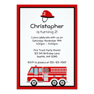 "Red Fire Engine and Hat Birthday Party Invitations 5"" X 7"" Invitation Card"