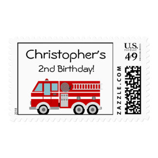 Red Fire Engine and Hat Birthday Postage Stamp