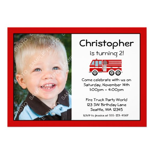 Red Fire Engine Birthday Party Photo Invitations