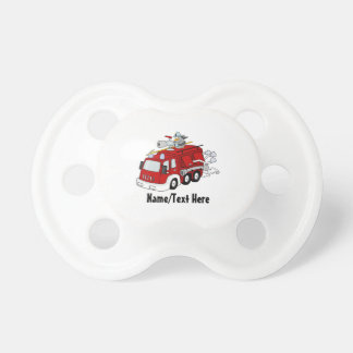 Red Fire Engine Name Customize Pacifier