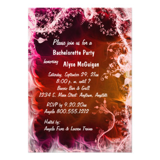 Red Fire Floral Bachelorette Party Invitation
