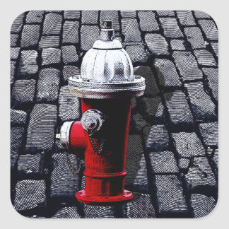 Red Fire Hydrant New York City Square Sticker