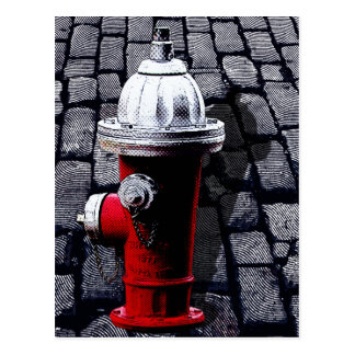 Red Fire Hydrant NYC Illustration Postcard