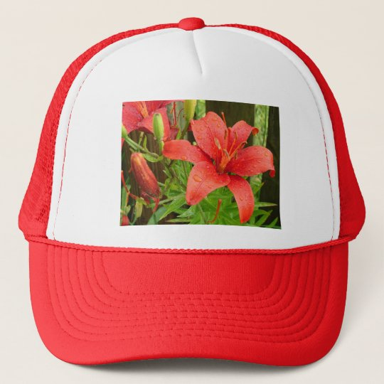 Red Fire Lily Trucker Hat