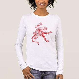 Red Fire Monkey Jersey Long Sleeve T-Shirt, White Long Sleeve T-Shirt