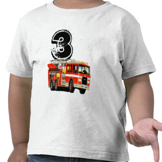 Red Fire Truck 3rd Birthday Shirt