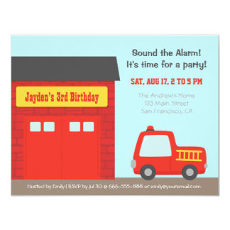 Red Fire Truck and Station Boys Birthday Party Card