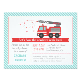 Red Fire Truck Baby Boy Shower Party Invitation