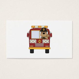 Red Fire Truck Bear Business Card